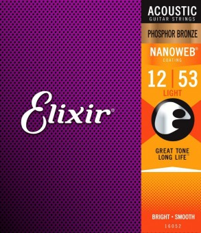 Elixir 16052 Nanoweb Phosphor Bronze Light 12/53 (PB NW L)